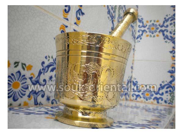 Mortier et pilon cuivre artisanal Tunisien