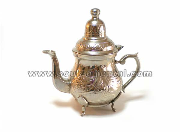 handmade carved white copper tea pot