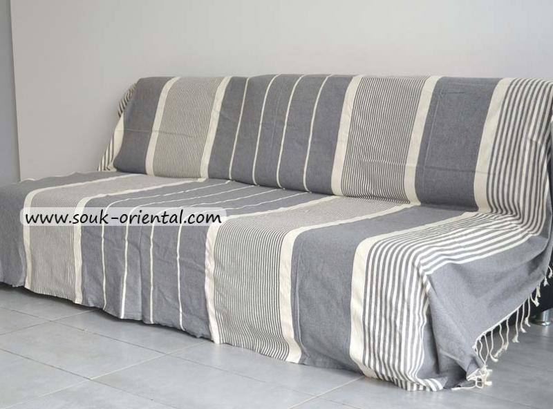jet e de canap lit fouta xxl gris clair ray e ivoire. Black Bedroom Furniture Sets. Home Design Ideas