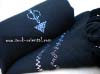 Wool scarf embroidered black silver
