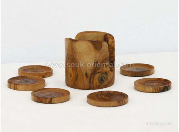 Coasters made of olive wood