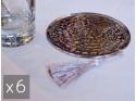 6 Sous-tasses en cuivre martelé