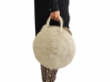 Round straw basket, natural bassinet bag
