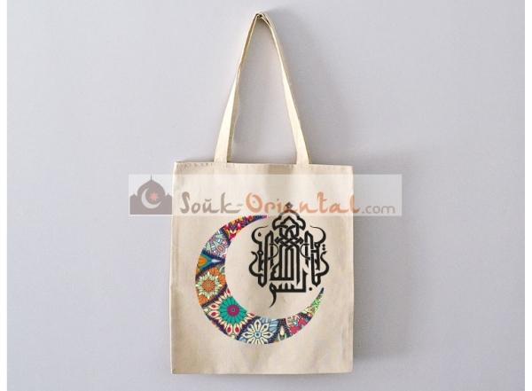 Sac Tote Bag BismiAllah avec Croissant Mandala