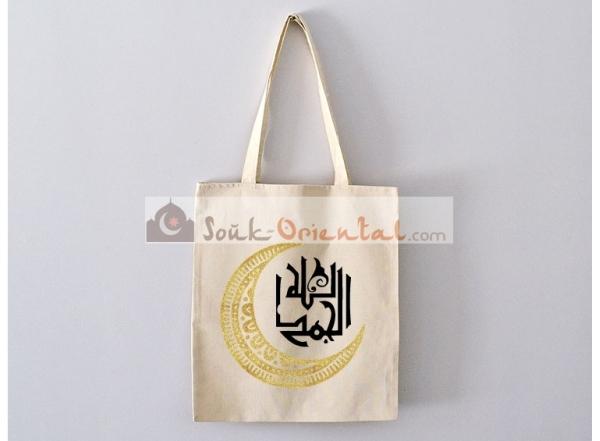 Sac Tote Bag Al Hamdoulillah avec croissant doré