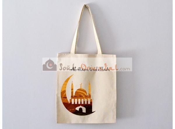 Sac Tote Bag Al hamdoulillah avec Mosquée