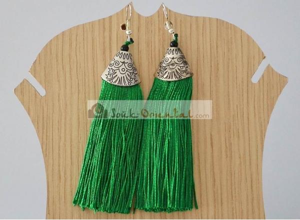 Boucles d'Oreille Pompons Vert