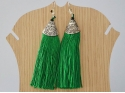 Silver earrings with green tassel
