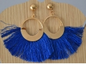 Peacock blue and gold pompom earrings