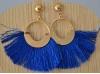 Boucles d'Oreille fantaisie pompon Bleu Roi et doré