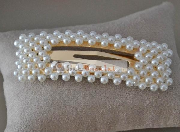 Barrette cheveux à perles xxl à clip