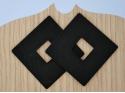 Square diamond earrings Matt black