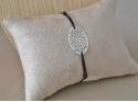 Silver Oval Pendant Bracelet