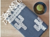 Serviette Fouta Jacquard Cactus Bleu Jean Drap de Hammam
