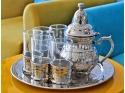 Service à thé en cuivre blanc : Théière, Plateau Rond et 6 Verres à thé