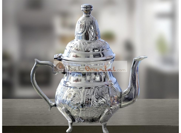 Théiere cuivre blanc sculpté artisanalement