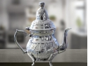 handmade carved white copper tea pot