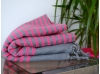 Ziwane Honeycomb Fouta Towel Raspberry Striped Concrete Gray