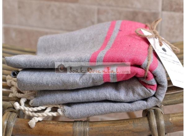 Bath towel Fouta Gray Dolphin Pink stripe Pink Fushia