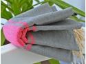 Bath towel Fouta Gray ash Pink stripe Pink Fushia