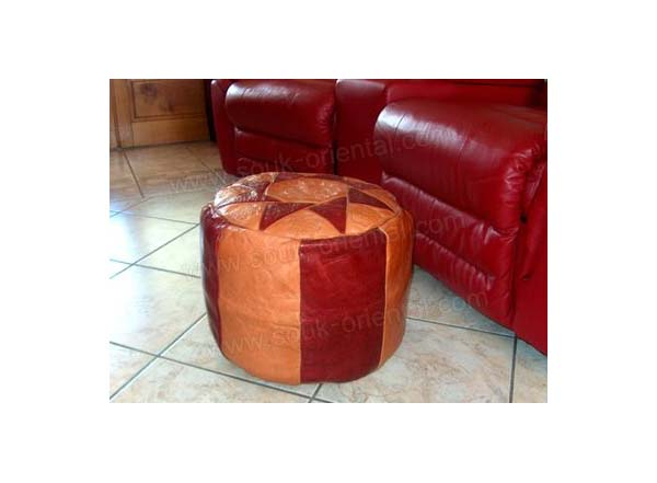 Pouf oriental artisanal en cuir